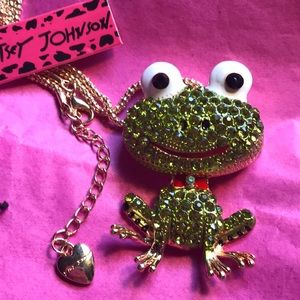 Betsey Johnson frog necklace/broach